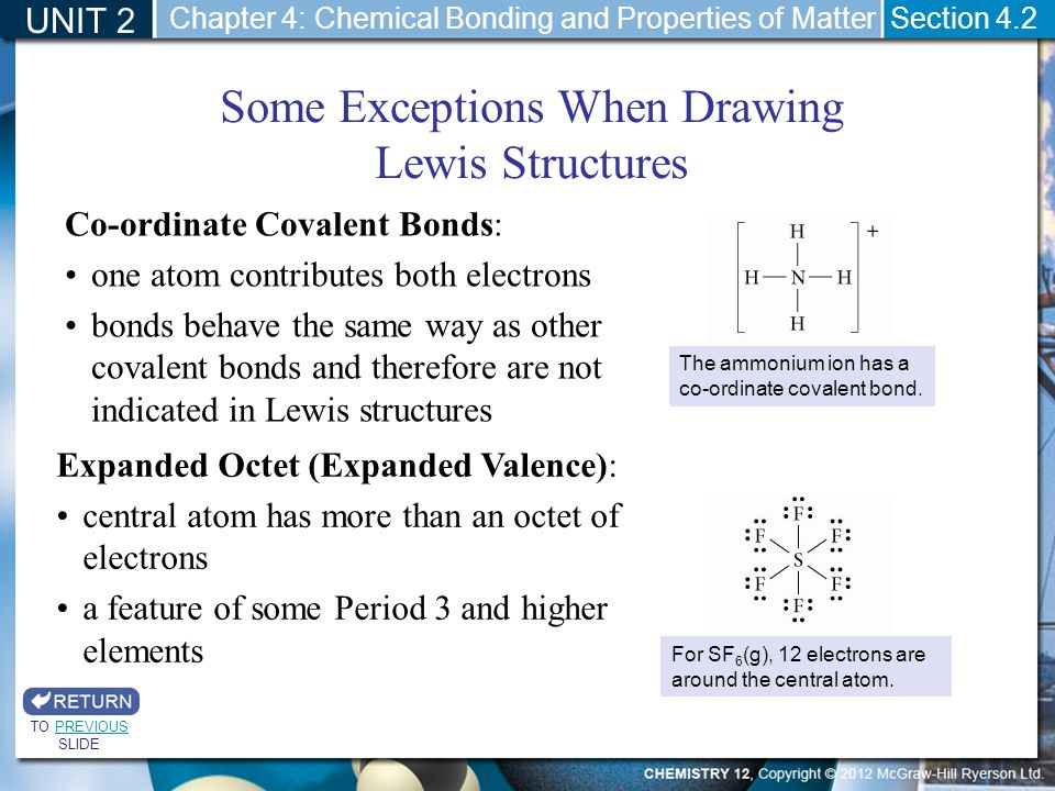 UNIT 2 Section 4.2 Some Exceptions When Drawing Lewis Structures The ammonium ion has a co-ordinate covalent bond. Co-ordinate Covalent Bonds: one ato