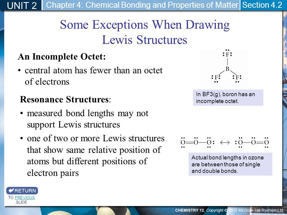 UNIT 2 Section 4.2 Some Exceptions When Drawing Lewis Structures In BF3(g), boron has an incomplete octet. An Incomplete Octet: central atom has fewer
