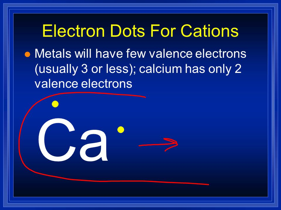 Formation of Cations l Metals lose electrons to attain a noble gas configuration. l They make positive ions (cations) l If we look at the electron con