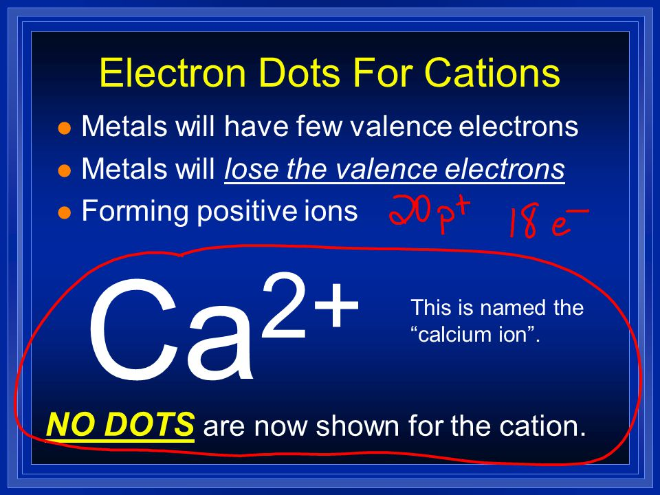 Electron Dots For Cations l Metals will have few valence electrons l Metals will lose the valence electrons Ca