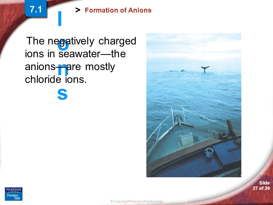 © Copyright Pearson Prentice Hall Slide 26 of 39 IonsIons > Formation of Anions Both a chloride ion and the argon atom have an octet of electrons in t