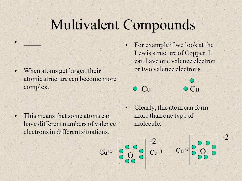 Multivalent Compounds _____ When atoms get larger, their atomic structure can become more complex.
