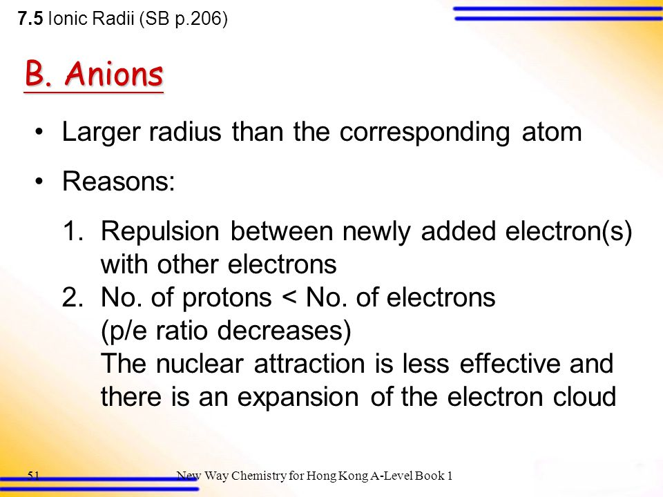 New Way Chemistry for Hong Kong A-Level Book 150 Size of ion vs size of atom Size of ion vs size of atom 7.5 Ionic Radii (SB p.206) Comparing relative atomic radii of some elements with the ionic radii of the corresponding ions