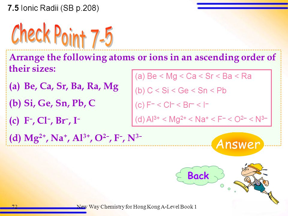 New Way Chemistry for Hong Kong A-Level Book 171 7.5 Ionic Radii (SB p.208) (c) The electronic configurations of both K + and Ca 2+ ions are 1s 2 2s 2 2p 6 3s 2 3p 6.