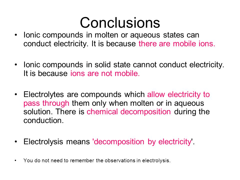 Lead(II) bromide does not conduct electricity in solid state. This is because ions in solids are not mobile (i.e. unable to move freely). Pb 2+ Br -
