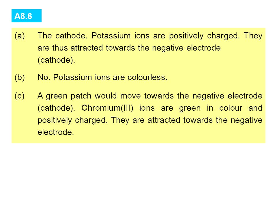 Q8.6 Refer to again. (a)Towards which electrode are potassium ions migrating? Why? (b)Can we see the movement of potassium ions? Why? (c)If a chromium