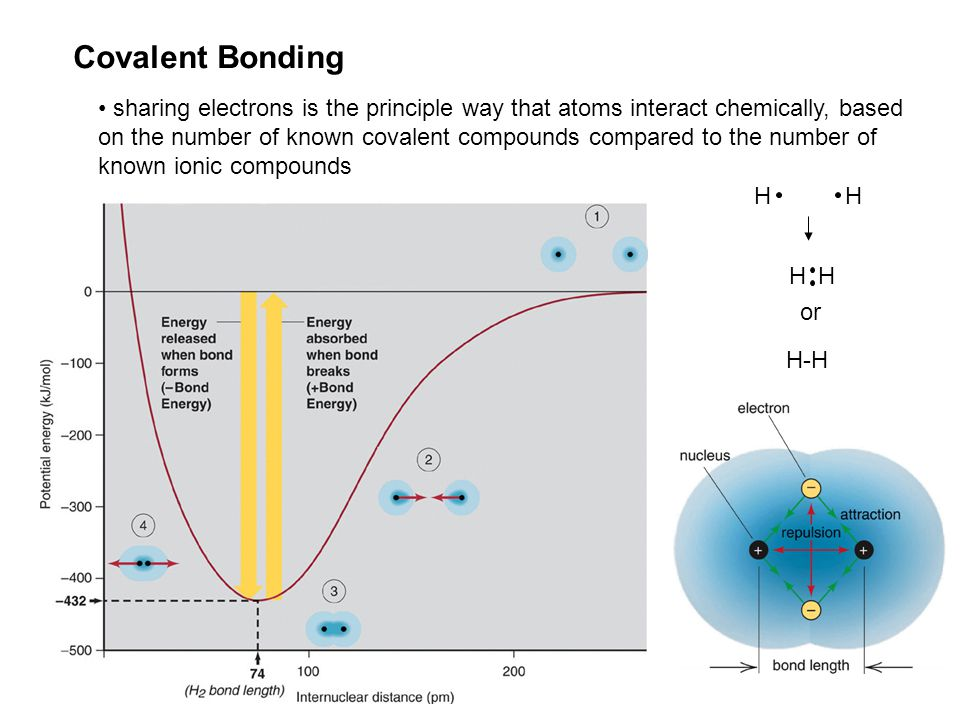 Covalent Bonding sharing electrons is the principle way that atoms interact chemically, based on the number of known covalent compounds compared to the number of known ionic compounds HH HH or H-H
