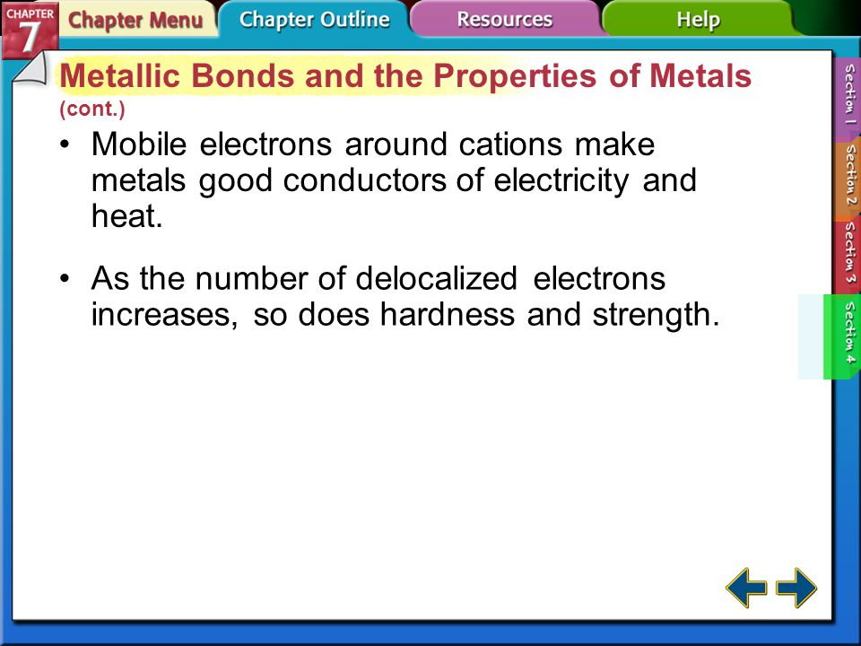 Section 7-4 Metallic Bonds and the Properties of Metals (cont.) Metals are malleable because they can be hammered into sheets.