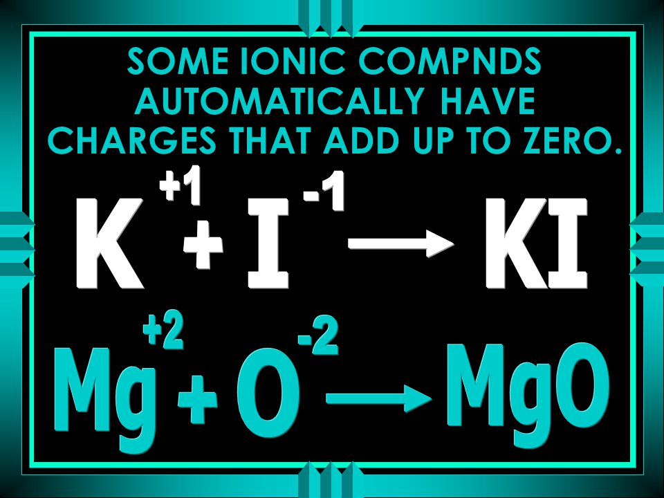 SOME IONIC COMPNDS AUTOMATICALLY HAVE CHARGES THAT ADD UP TO ZERO.