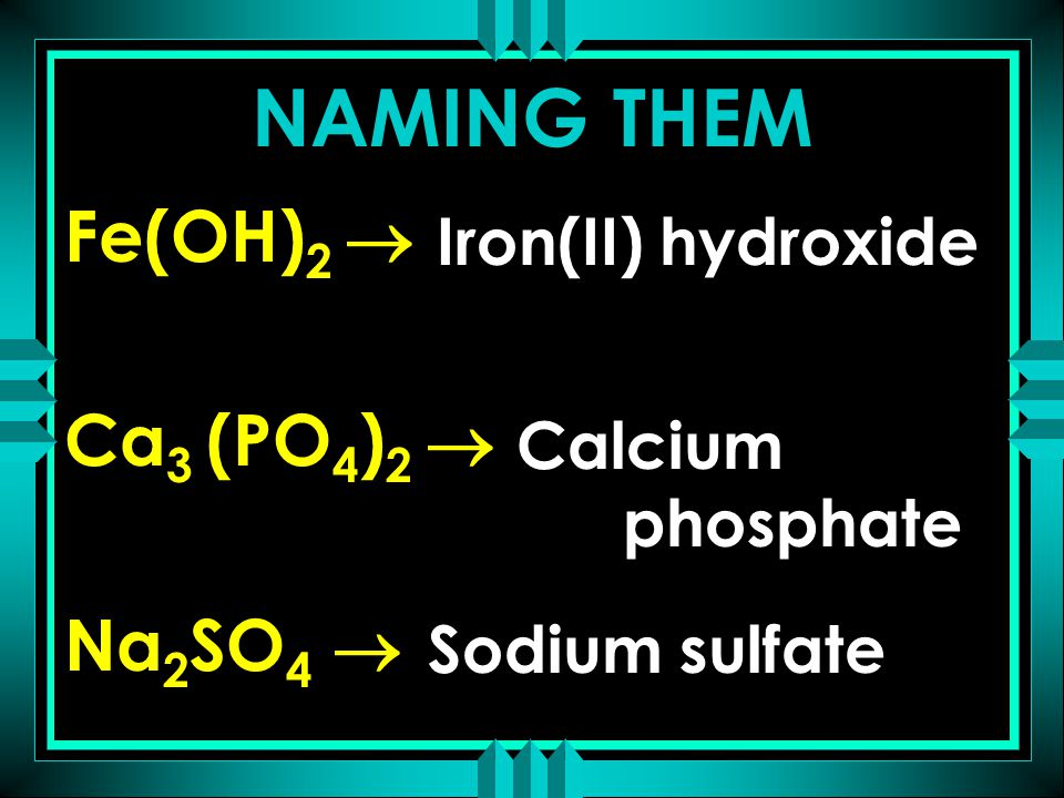 Fe(OH) 2  Ca 3 (PO 4 ) 2  Na 2 SO 4  Iron(II) hydroxide Calcium phosphate Sodium sulfate NAMING THEM