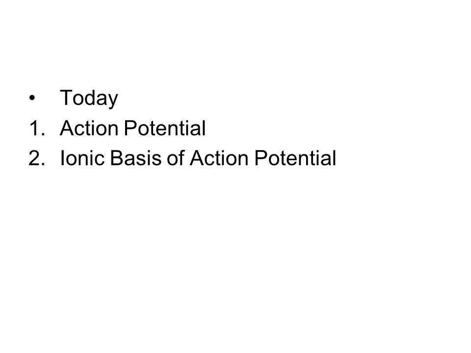 Today 1.Action Potential 2.Ionic Basis of Action Potential