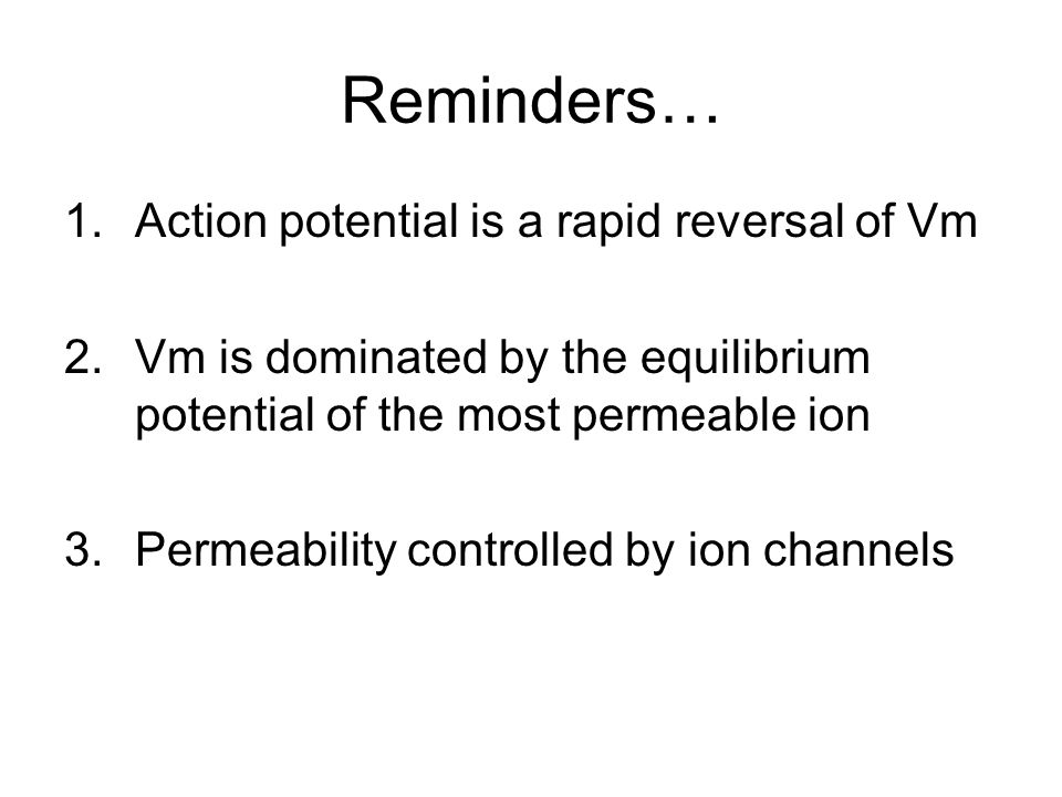 Reminders… 1.Action potential is a rapid reversal of Vm 2.Vm is dominated by the equilibrium potential of the most permeable ion 3.Permeability controlled by ion channels