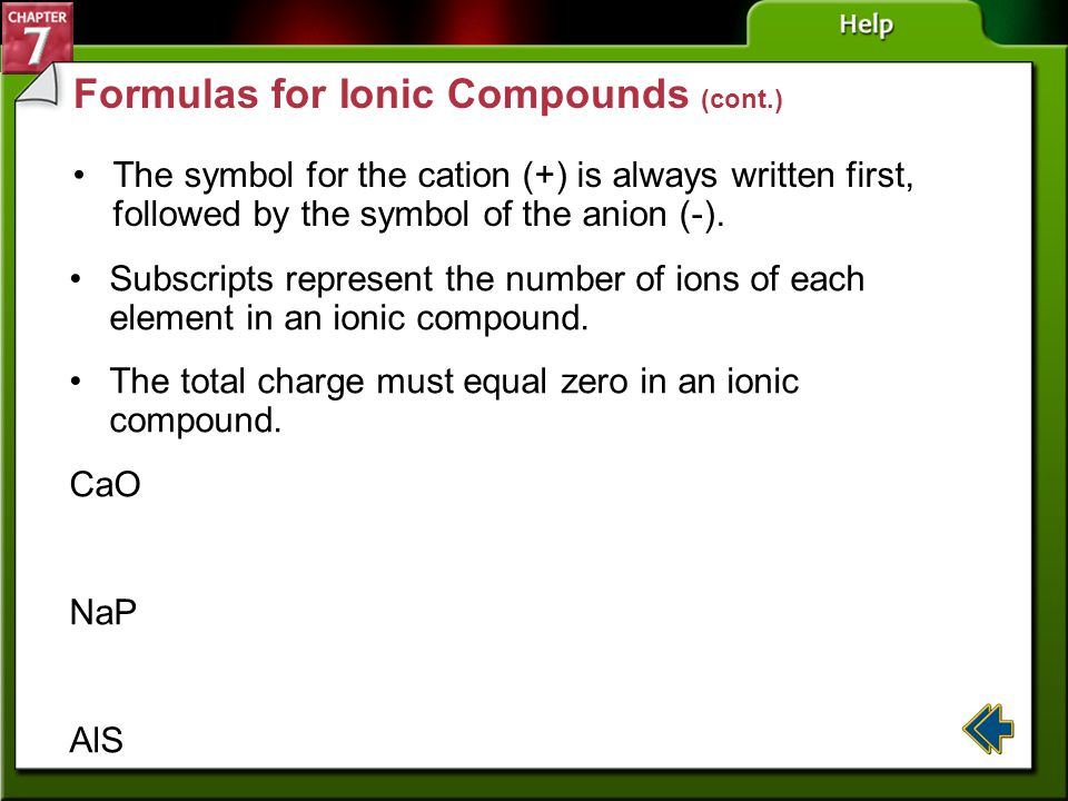 Section 7-3 Formulas for Ionic Compounds Chemists around the world need to communicate with one another, so a standardized system of naming compounds