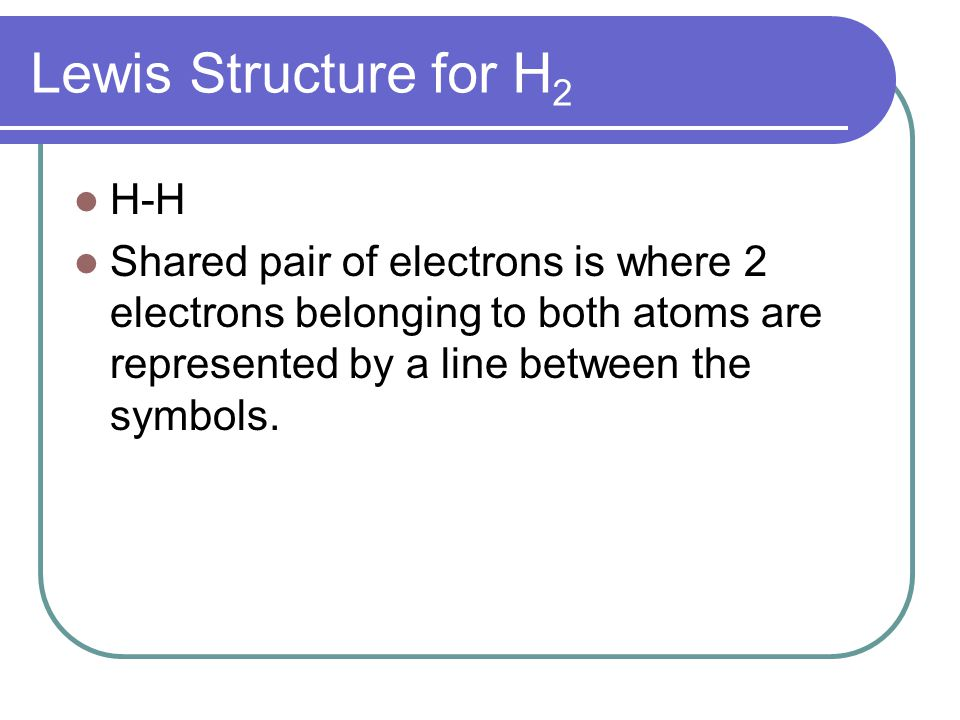 Lewis Structure for H 2 H-H Shared pair of electrons is where 2 electrons belonging to both atoms are represented by a line between the symbols.