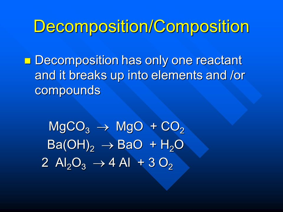 Combustion Reaction of a hydrocarbon/alcohol or other organic molecule with oxygen gas to produce carbon dioxide and water Reaction of a hydrocarbon/alcohol or other organic molecule with oxygen gas to produce carbon dioxide and water C 3 H 8 + 5 O 2 → 3 CO 2 + 4 H 2 O C 3 H 8 + 5 O 2 → 3 CO 2 + 4 H 2 O CH 3 CH 2 OH + 3 O 2 → 2 CO 2 + 3 H 2 O CH 3 CH 2 OH + 3 O 2 → 2 CO 2 + 3 H 2 O