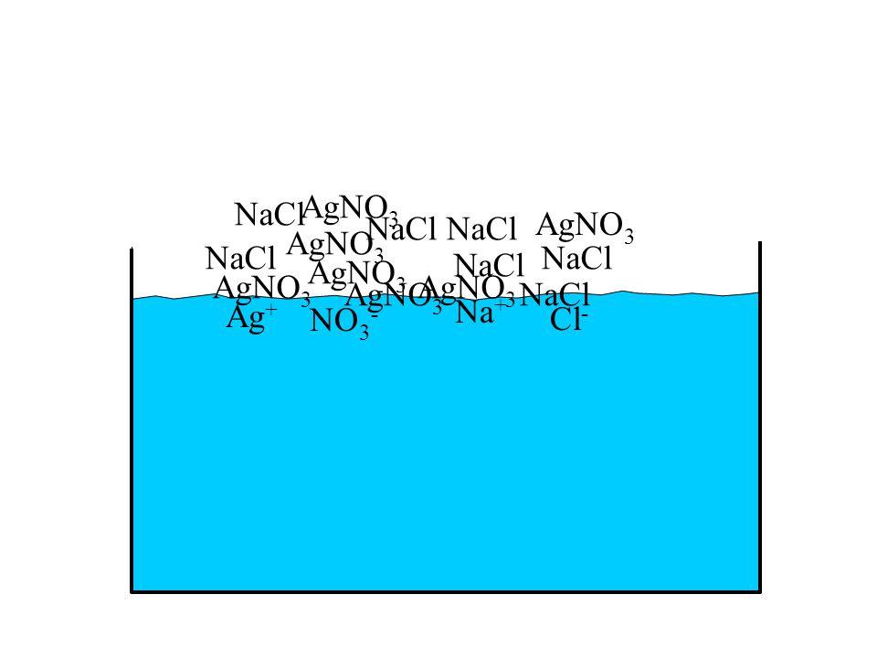 Ag + NO 3 - Na + Cl - AgNO 3 NaCl AgNO 3 NaCl AgNO 3 NaCl AgNO 3 NaCl AgNO 3 NaCl AgNO 3 NaCl AgNO 3 NaCl