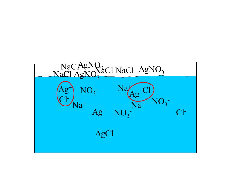 Ag + NO 3 - Na + Cl - NaCl AgNO 3 NaCl AgNO 3 NaClAgNO 3 Ag + NO 3 - Na + Cl - Ag + NO 3 - Na + Cl - AgCl