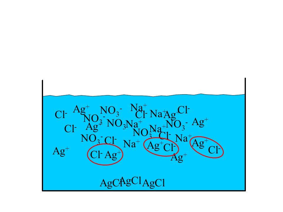 Ag + NO 3 - Na + Cl - Ag + NO 3 - Na + Cl - Ag + NO 3 - Na + Cl - Ag + NO 3 - Na + Cl - Ag + NO 3 - Na + Cl - Ag + NO 3 - Na + Cl - Ag + AgCl Ag + Cl - Ag +