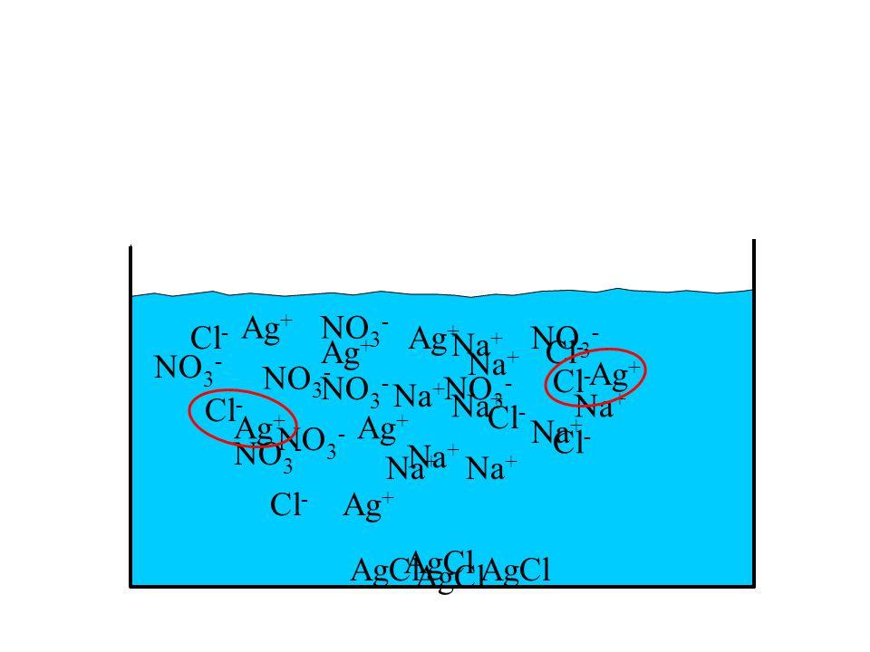 NO 3 - Na + Cl - NO 3 - Na + Ag + NO 3 - Na + Ag + NO 3 - Na + Cl - Na + NO 3 - Na + Cl - Ag + NO 3 - Na + NO 3 - Na + Cl - NO 3 - Na + AgCl Ag + Cl - Ag + Cl - Ag + Cl - Ag +