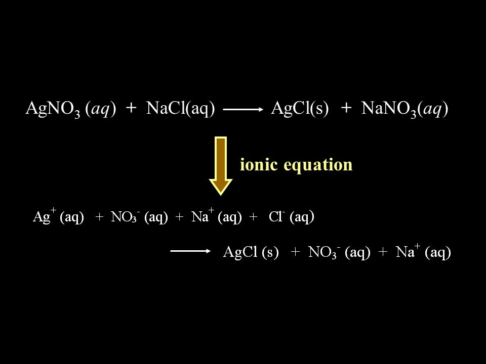 AgNO 3 (aq) + NaCl(aq) AgCl(s) + NaNO 3 (aq) ionic equation