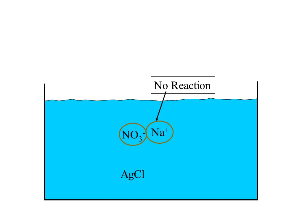AgCl NO 3 - Na + No Reaction