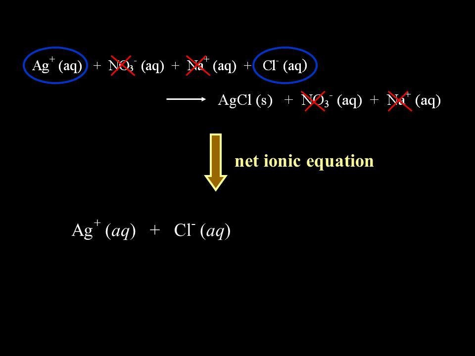 net ionic equation Ag + ( aq ) + Cl - ( aq )