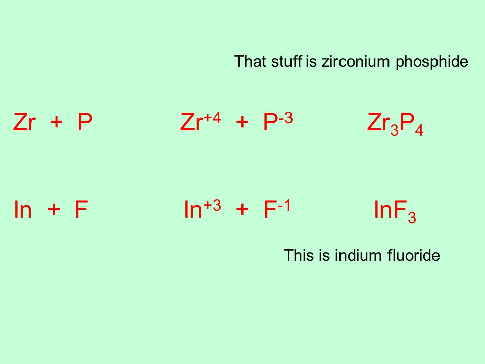 That stuff is zirconium phosphide Zr + P Zr +4 + P -3 Zr 3 P 4 In + F In +3 + F -1 InF 3 This is indium fluoride