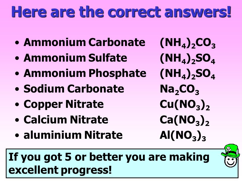 Now try these examples on your worksheet Ammonium Carbonate Ammonium Sulfate Ammonium Phosphate Sodium Carbonate Copper Nitrate Calcium Nitrate alumin