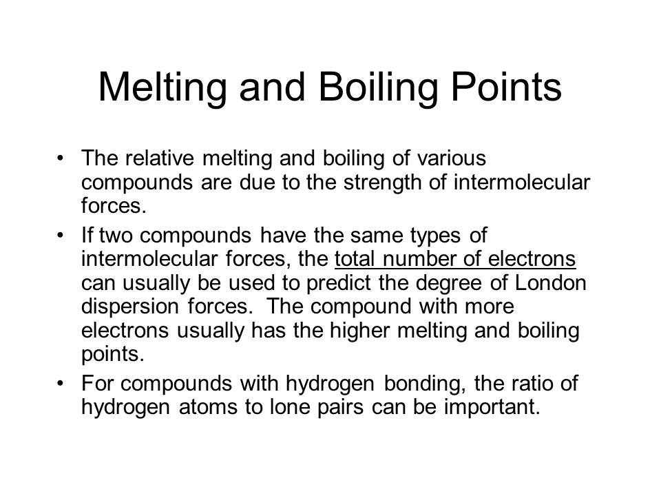 Comparing Intermolecular Forces CompoundLondon Dispersion Dipole- Dipole (AXE ) Hydrogen Bonding (H-F, H-N, H-O) Weakly Ionic (Ions with low charges) Strongly ionic (Both ions have charges >2 Usually Insoluble in H 2 O) CO 2 Carbon dioxide H 2 O water
