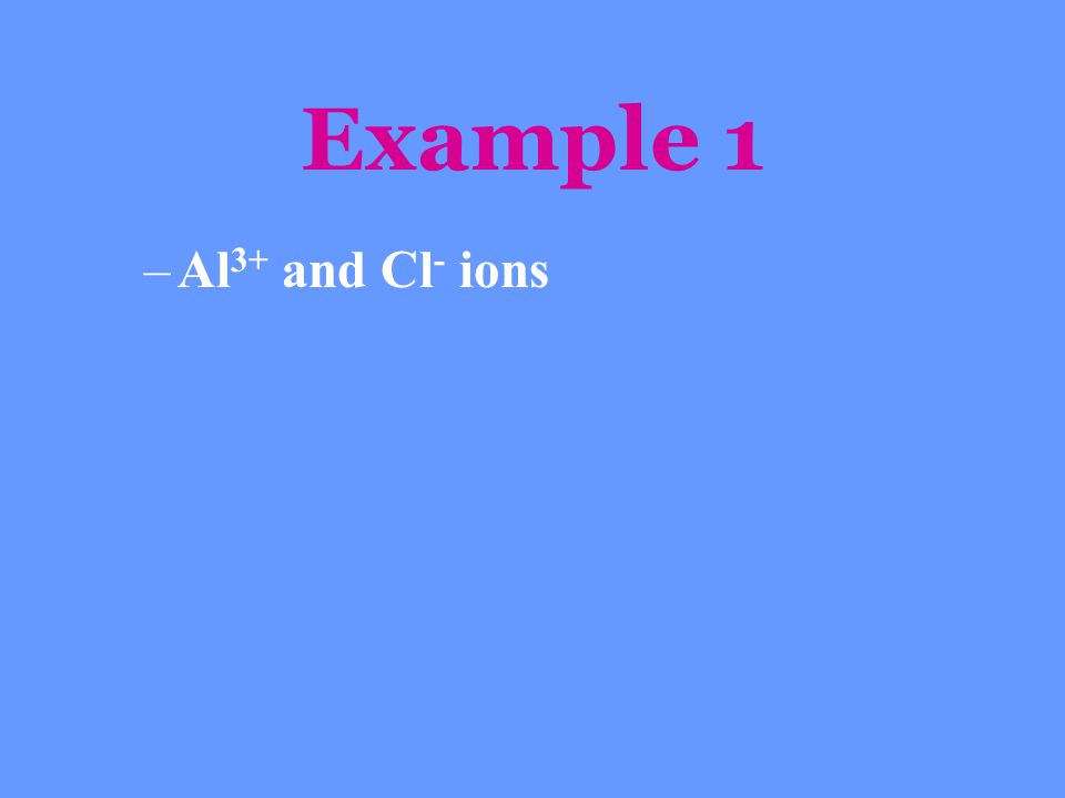Example 1 –Al 3+ and Cl - ions
