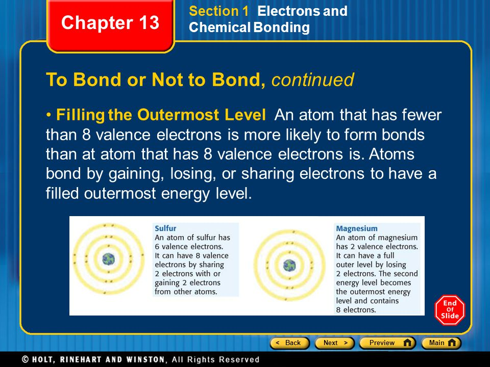 < BackNext >PreviewMain Section 1 Electrons and Chemical Bonding To Bond or Not to Bond, continued Filling the Outermost Level An atom that has fewer than 8 valence electrons is more likely to form bonds than at atom that has 8 valence electrons is.