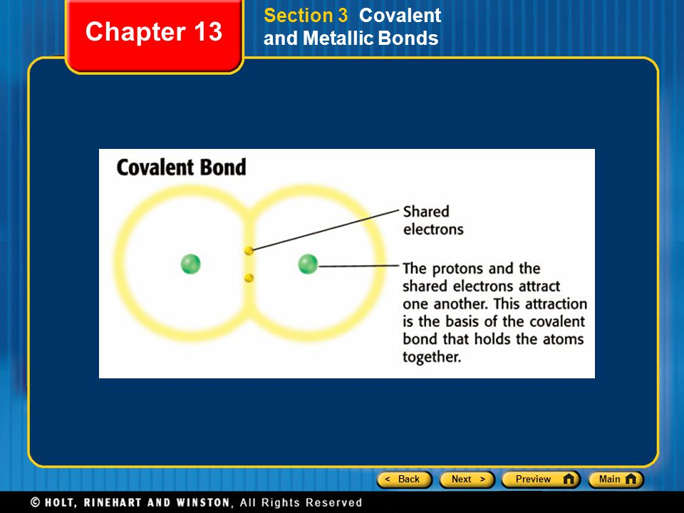< BackNext >PreviewMain Section 3 Covalent and Metallic Bonds Chapter 13