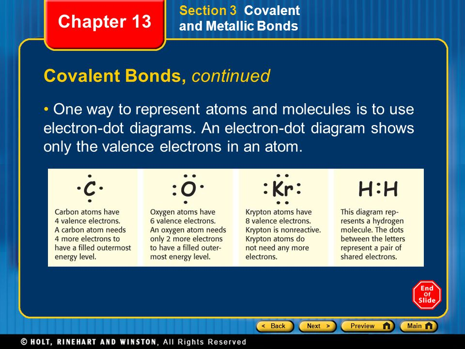 < BackNext >PreviewMain Section 3 Covalent and Metallic Bonds Covalent Bonds, continued One way to represent atoms and molecules is to use electron-dot diagrams.
