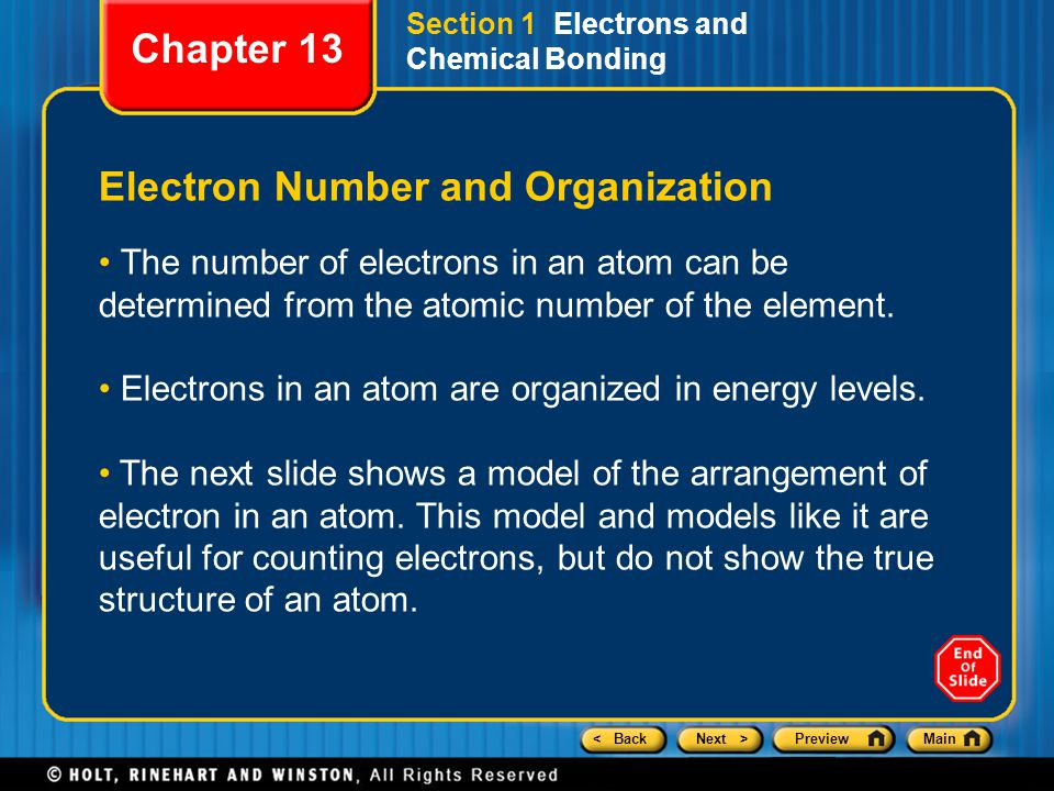 < BackNext >PreviewMain Section 1 Electrons and Chemical Bonding Electron Number and Organization The number of electrons in an atom can be determined from the atomic number of the element.