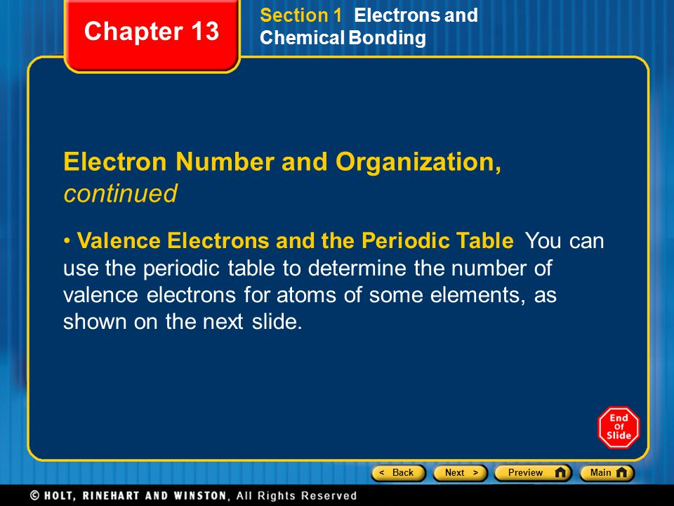 < BackNext >PreviewMain Section 1 Electrons and Chemical Bonding Electron Number and Organization, continued Valence Electrons and the Periodic Table You can use the periodic table to determine the number of valence electrons for atoms of some elements, as shown on the next slide.