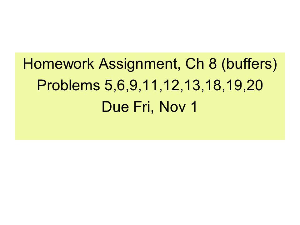 Homework Assignment, Ch 8 (buffers) Problems 5,6,9,11,12,13,18,19,20 Due Fri, Nov 1