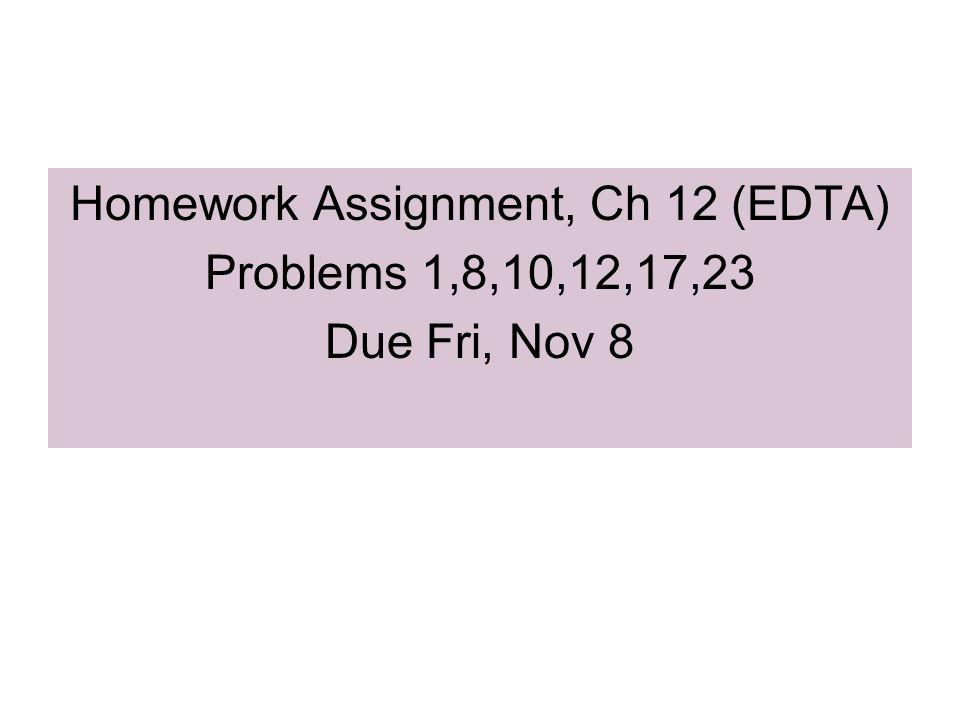 Homework Assignment, Ch 12 (EDTA) Problems 1,8,10,12,17,23 Due Fri, Nov 8