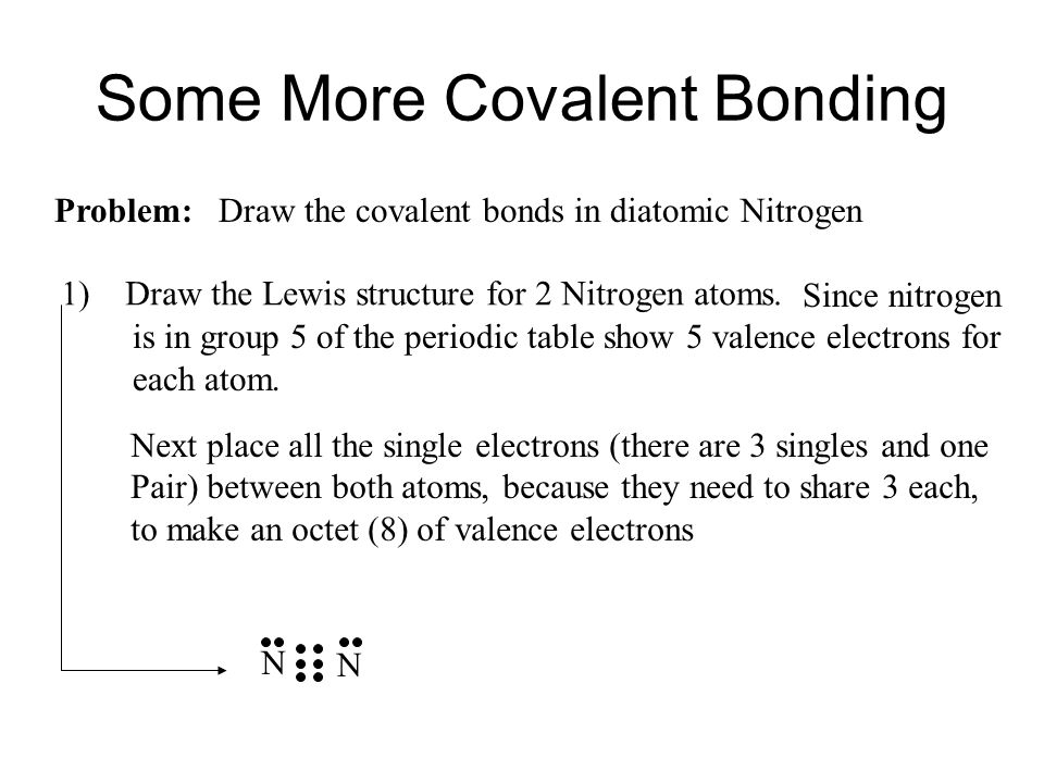 Since nitrogen is in group 5 of the periodic table show 5 valence electrons for each atom.