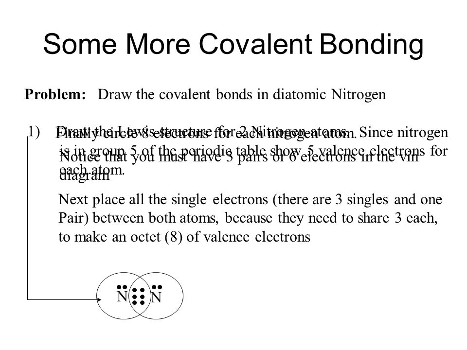 Since nitrogen is in group 5 of the periodic table show 5 valence electrons for each atom. Some More Covalent Bonding Problem: Draw the covalent bonds