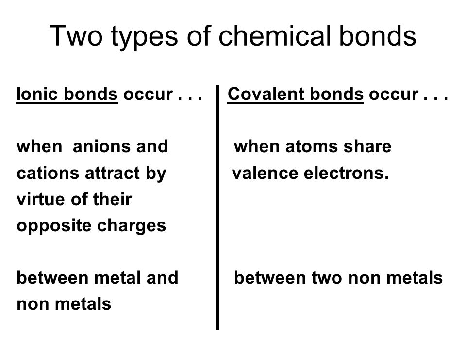 Two types of chemical bonds Ionic bonds occur...Covalent bonds occur...