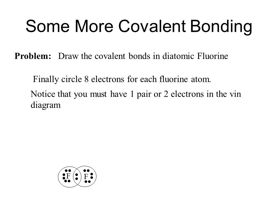 Some More Covalent Bonding Problem: Draw the covalent bonds in diatomic Fluorine F F Finally circle 8 electrons for each fluorine atom.