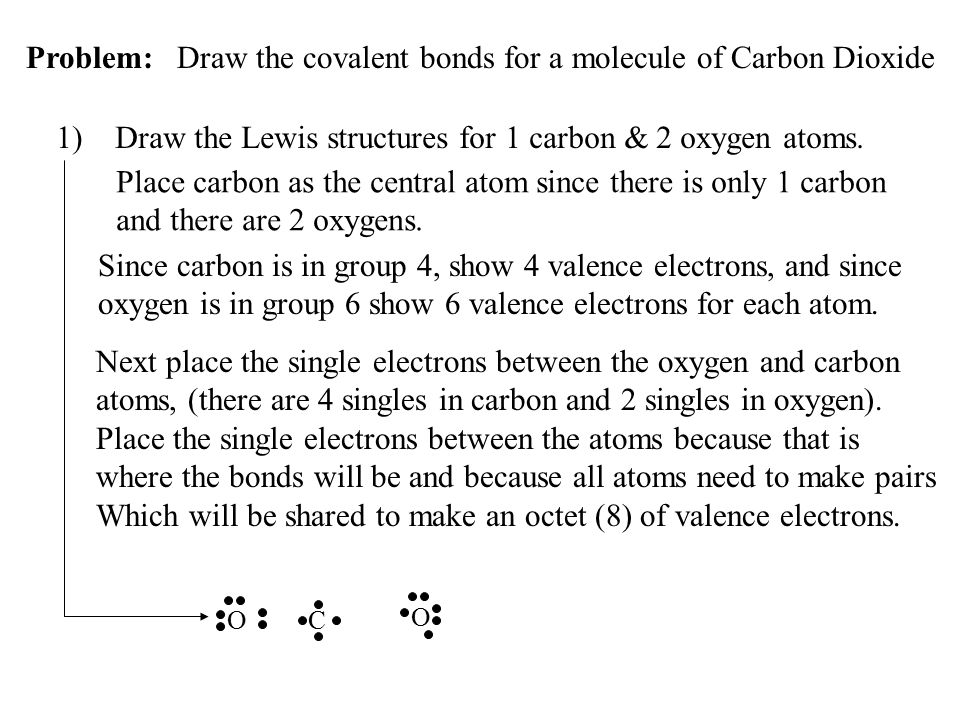 Since carbon is in group 4, show 4 valence electrons, and since oxygen is in group 6 show 6 valence electrons for each atom. Problem: Draw the covalen