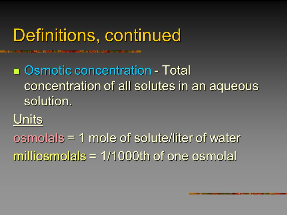 Osmoregulation in different environments Challenge to homeostasis depends on Challenge to homeostasis depends on Solute concentration of body fluids and tissues… Solute concentration of body fluids and tissues… …concentration of environmental solutes …concentration of environmental solutes marine: ~34 ppt salinity = 1000 mosm/l marine: ~34 ppt salinity = 1000 mosm/l freshwater: < 3 ppt salinity = 1 - 10 mosm/l freshwater: < 3 ppt salinity = 1 - 10 mosm/l