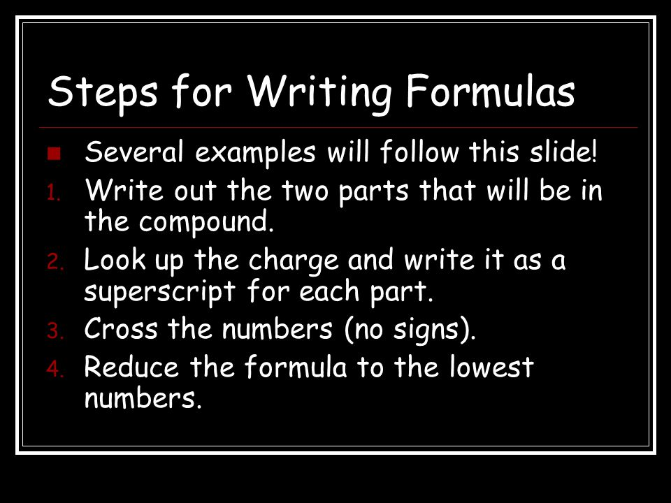Wrap-Up 3 What is the formula for a compound made from cesium and sulfur? Cs 2 S