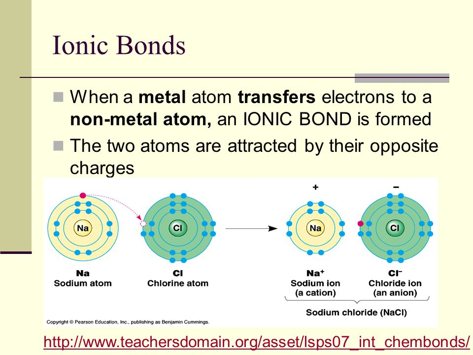 Ionic Bonds When a metal atom transfers electrons to a non-metal atom, an IONIC BOND is formed The two atoms are attracted by their opposite charges http://www.teachersdomain.org/asset/lsps07_int_chembonds/