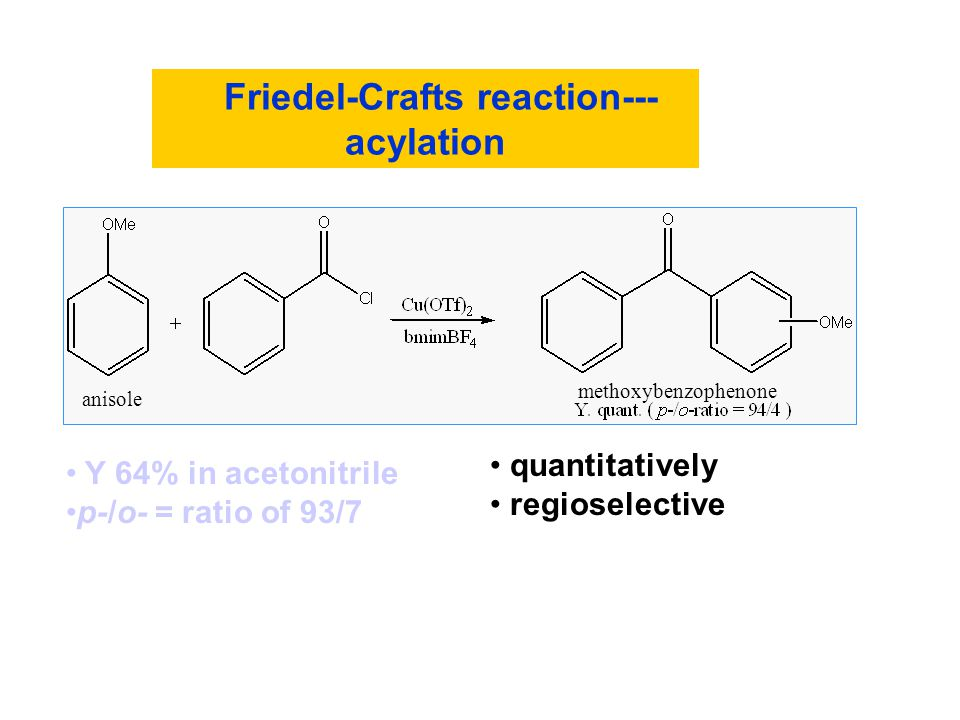 Friedel-Crafts reaction--- acylation anisole quantitatively regioselective methoxybenzophenone Y 64% in acetonitrile p-/o- = ratio of 93/7