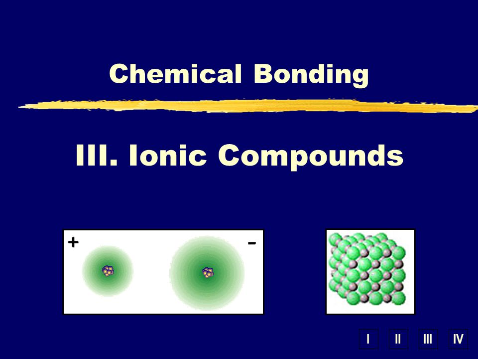 IIIIIIIV III. Ionic Compounds Chemical Bonding