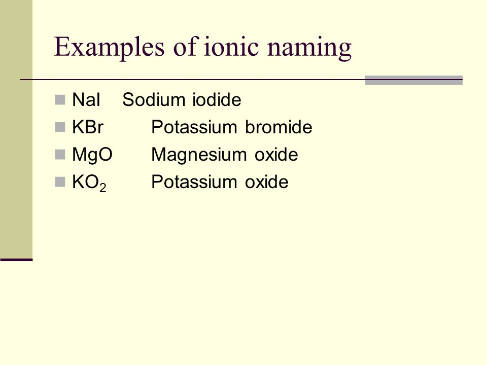 Examples of ionic naming NaI Sodium iodide KBrPotassium bromide MgOMagnesium oxide KO 2 Potassium oxide