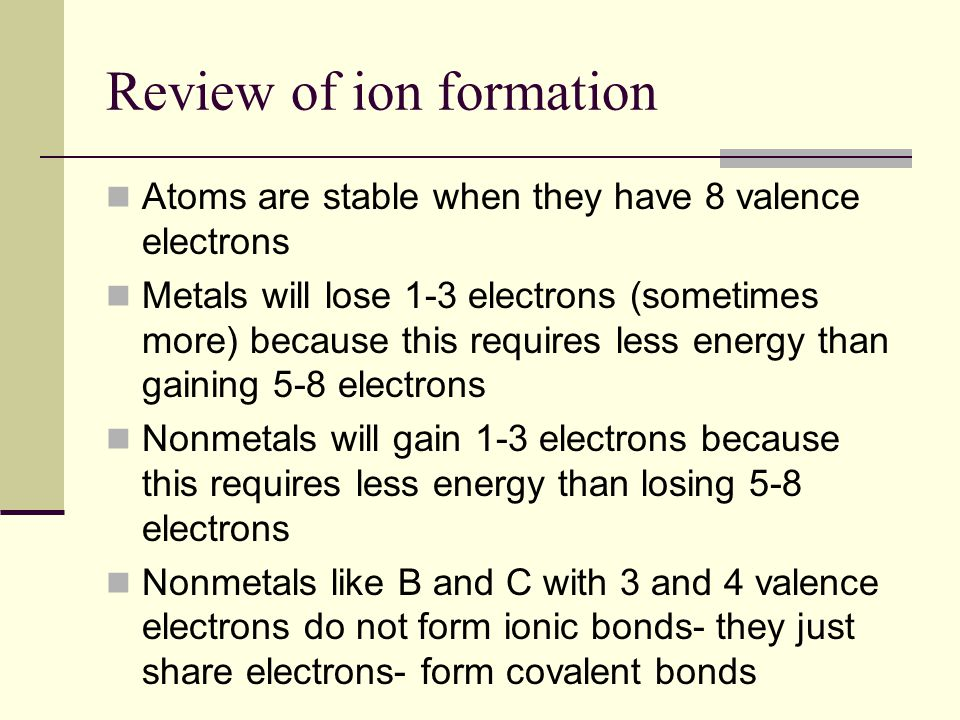 Review of ion formation Atoms are stable when they have 8 valence electrons Metals will lose 1-3 electrons (sometimes more) because this requires less