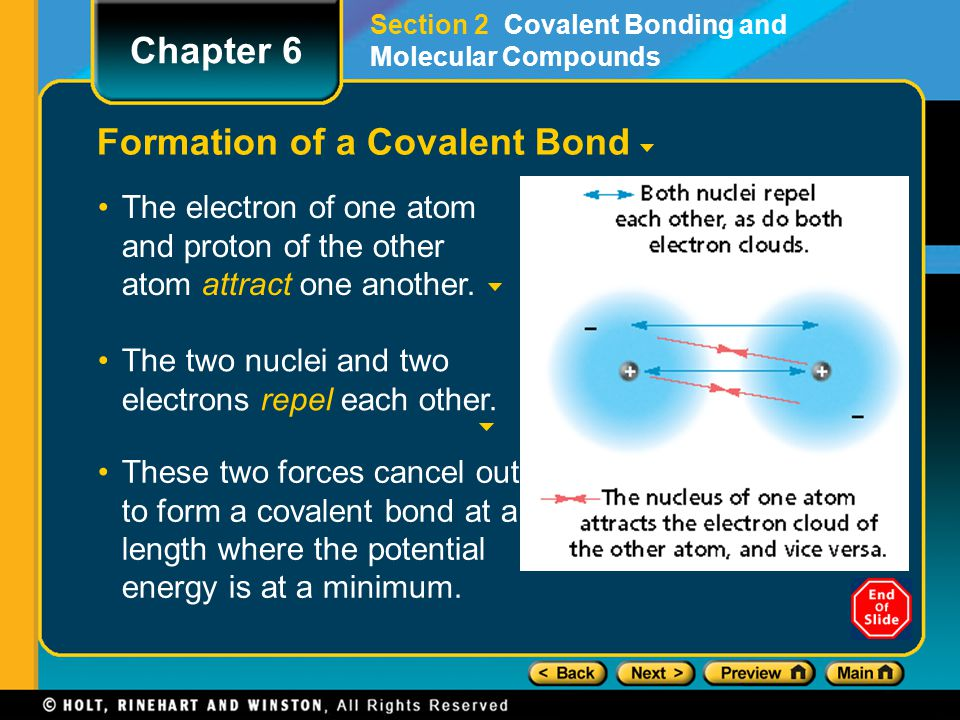 Formation of a Covalent Bond The electron of one atom and proton of the other atom attract one another. Section 2 Covalent Bonding and Molecular Compo